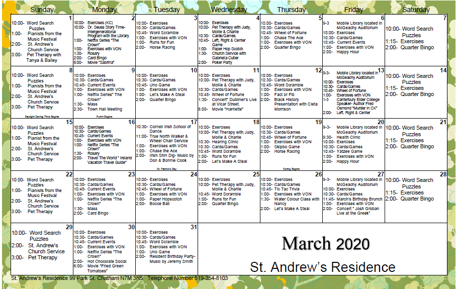 March Calendar PNG